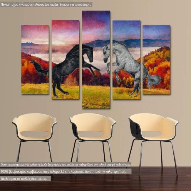Πίνακας σε καμβά Horses, πεντάπτυχος