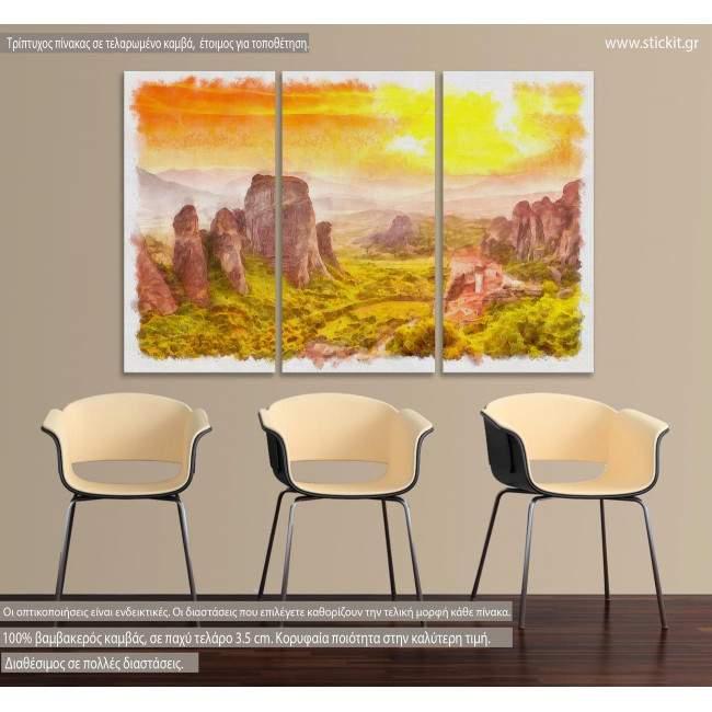 Πίνακας σε καμβά Meteora at sunset watecolor, τρίπτυχος