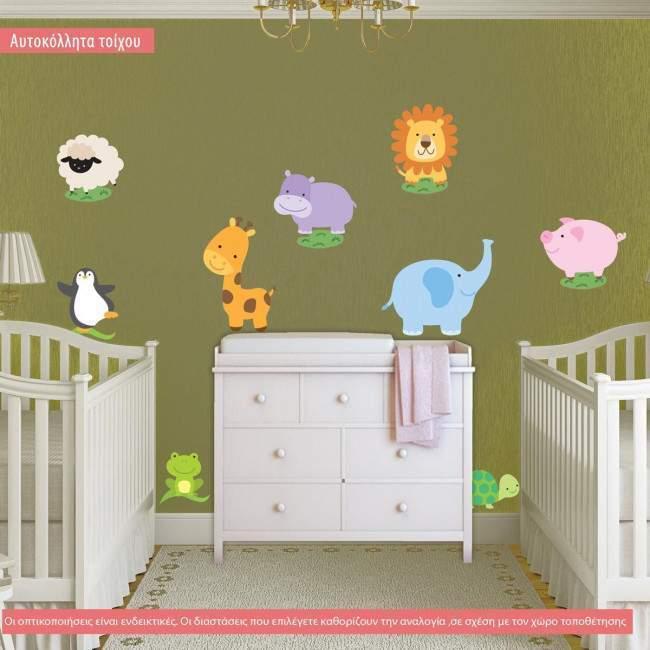 Αυτοκόλλητα τοίχου παιδικά Πολύ χαριτωμένα ζωάκια, συλλογή
