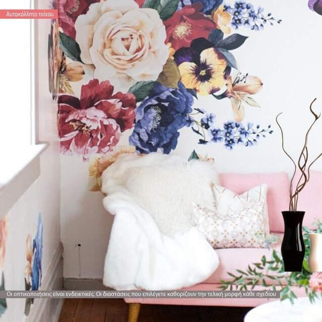 Αυτοκόλλητα τοίχου Λουλούδια  patchwork