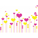 Wall stickers Flowers hearts and love birds, yellow - red