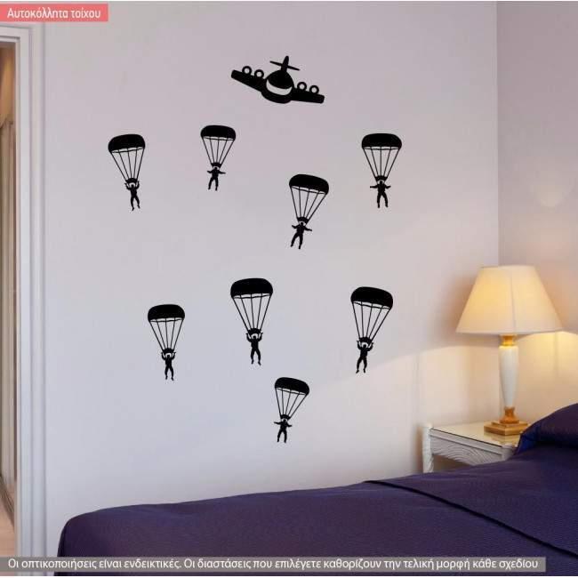 Αυτοκόλλητο τοίχου Αλεξιπτωτιστές, Parachuters