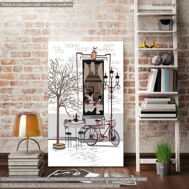 Canvas print Cafe and bicycle