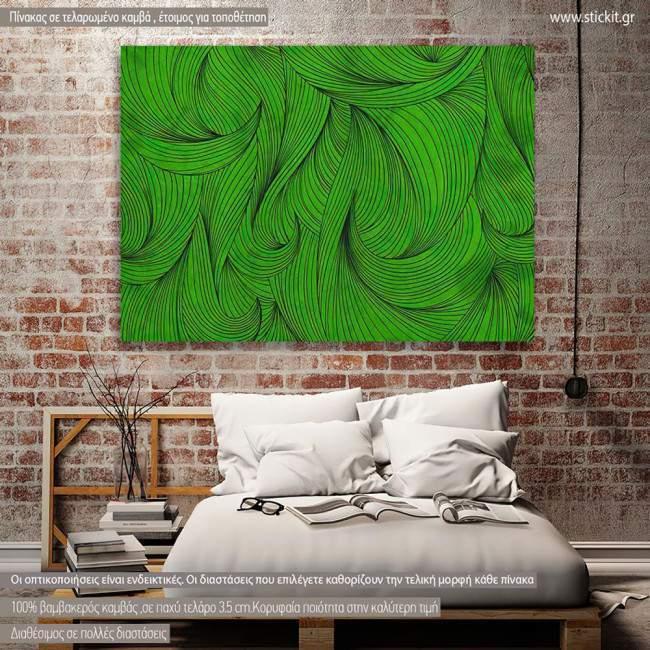 Πίνακας σε καμβά Green curly