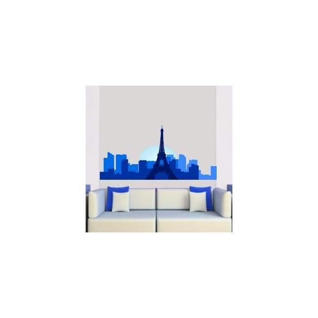 Αυτοκόλλητο τοίχου Παρίσι περίγραμμα μπλε αποχρώσεις