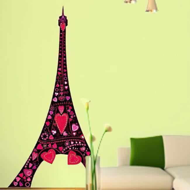 Αυτοκόλλητο τοίχου πύργος του Άιφελ, πολύχρωμες καρδιές