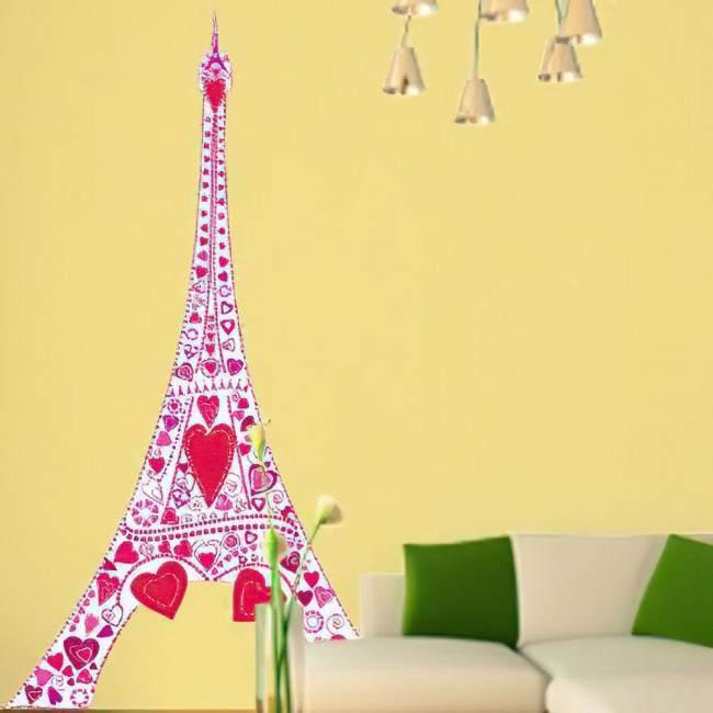 Αυτοκόλλητα τοίχου ροζ πύργος και καρδιές. Έρωτας στον πύργο του Άιφελ