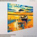 Ηλιοβασίλεμα στη λιμνοθάλασσα, πίνακας σε καμβά, κοντινό