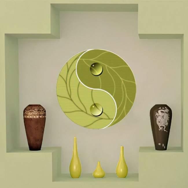 Αυτοκόλλητο τοίχου Γιν και Γιανγκ, πράσινο