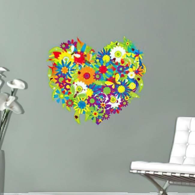 Αυτοκόλλητο τοίχου Καρδιά από λουλούδια