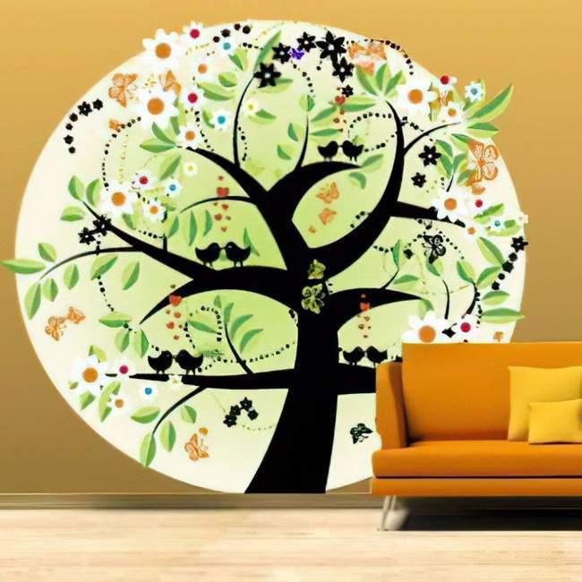 Αυτοκόλλητο τοίχου Δέντρο, πεταλούδες, αστέρια και πουλιά