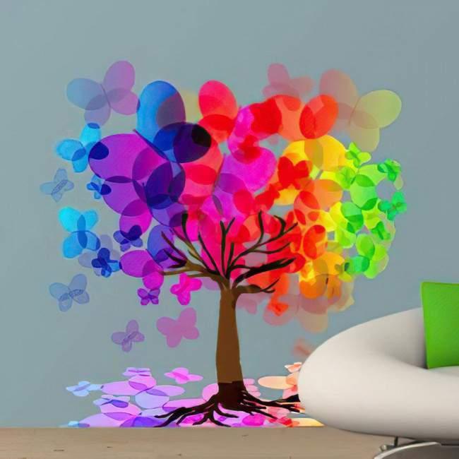 Αυτοκόλλητα τοίχου δέντρο, πεταλούδες. Μαγικός χορός πεταλούδων