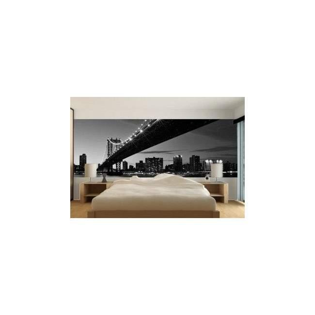 Ταπετσαρία τοίχου Η γέφυρα του Μανχάταν, ασπρόμαυρη