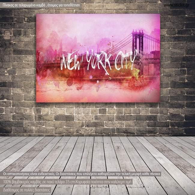 Πίνακας σε καμβά Νέα Υόρκη, Pink New York