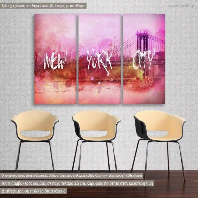 Πίνακας σε καμβά Pink New York, τρίπτυχος