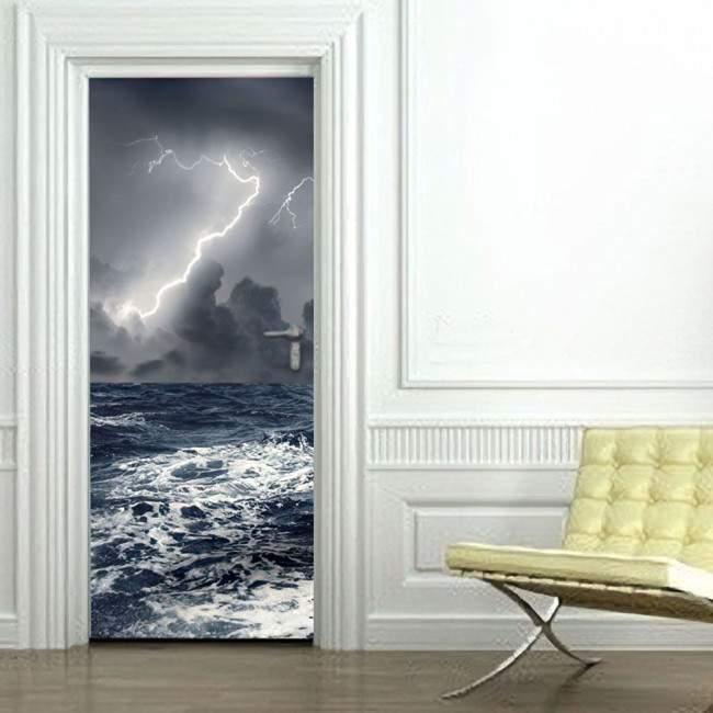Αυτοκόλλητο πόρτας Αγριεμένη θάλασσα