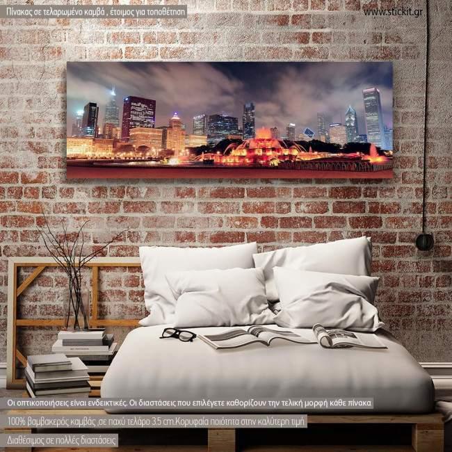 Πίνακας σε καμβά Chicago lights panorama, πανοραμικός