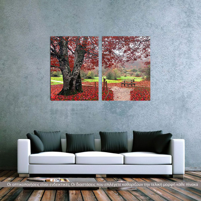 Canvas print Red leafs, two panels