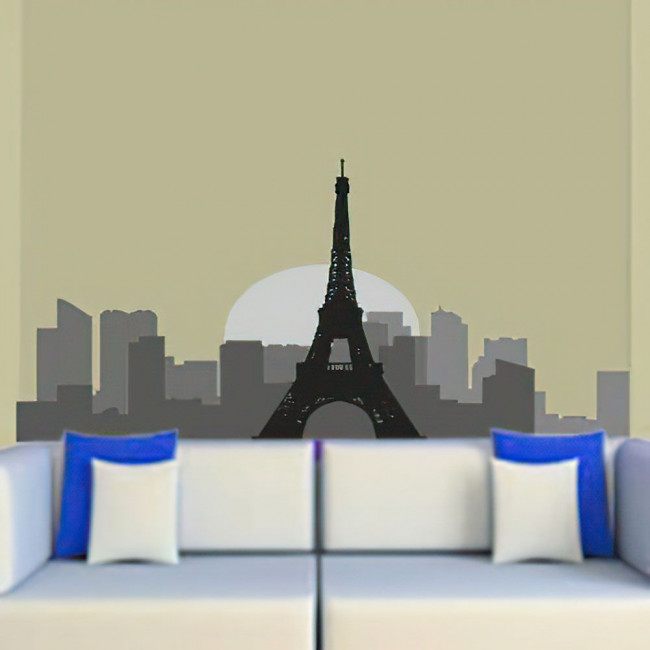 Αυτοκόλλητο τοίχου Παρίσι περίγραμμα γκρι αποχρώσεις