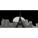 Παρίσι | Περίγραμμα σε γκρι αποχρώσεις | Αυτοκόλλητο τοίχου
