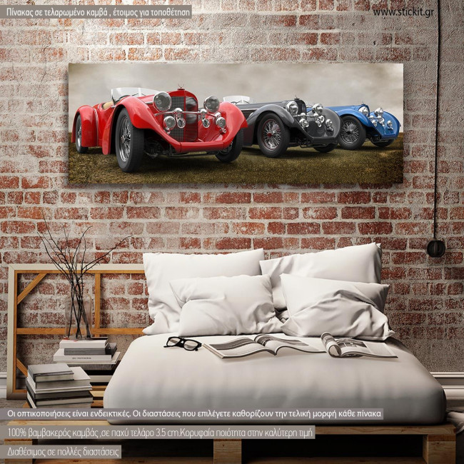 Canvas print Retro cars, panoramic