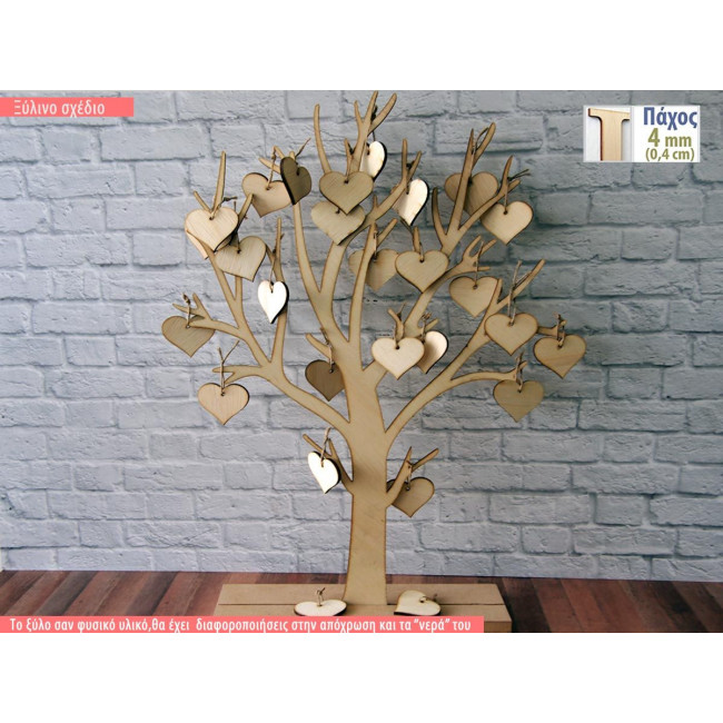 Wooden wishes board Tree with hanging hearts