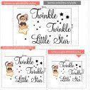 Αυτοκόλλητο τοίχου, ευχή και μαιμουδάκι κοριτσάκι, Twinkle Twinkle Little star