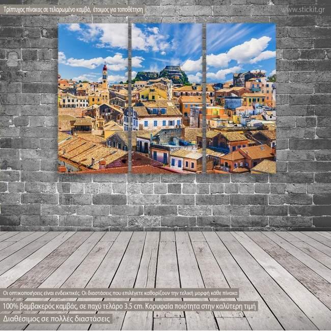 Πίνακας σε καμβά Πόλη της Κέρκυρας, τρίπτυχος