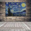 Πίνακας σε καμβά Starry night, van Gogh Vincent, τρίπτυχος