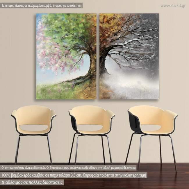 Πίνακας σε καμβά Four season tree, δίπτυχος