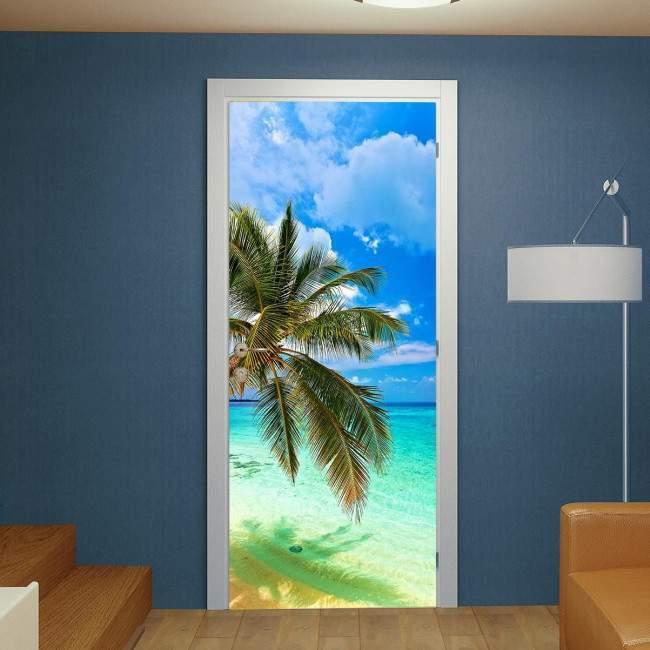 Αυτοκόλλητο πόρτας Tropical beach