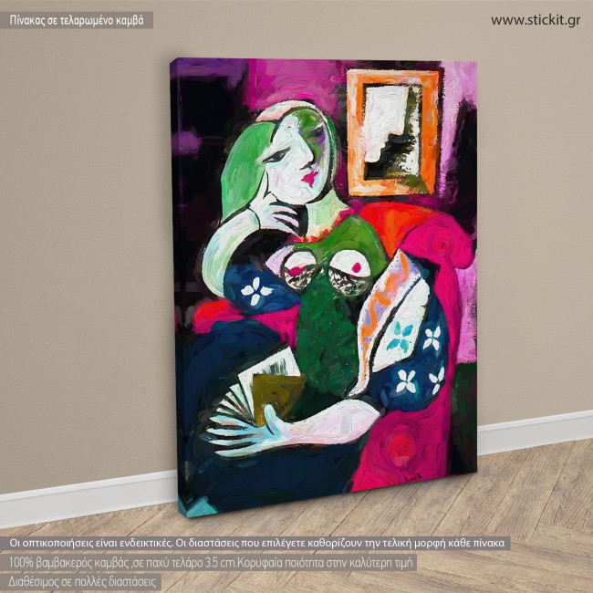 Canvas print Woman with a book reart (original by P. Picasso), reproduction