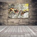 Canvas print The creation of Adam reart II,  (original by Michelangelo), reproduction