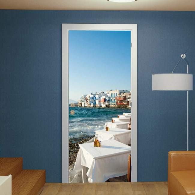 Αυτοκόλλητο πόρτας Little Venice by the Aegean Sea