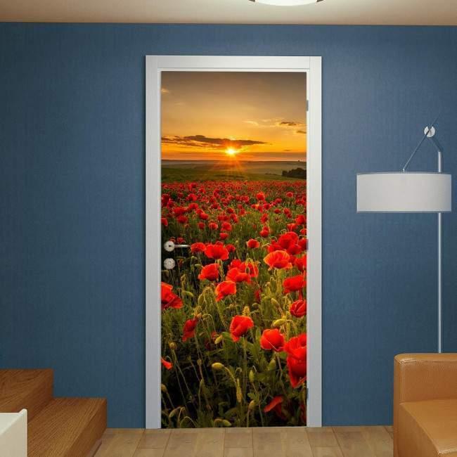 Door sticker Poppy field at sunset