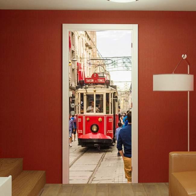 Αυτοκόλλητο πόρτας Old red tram in taksim