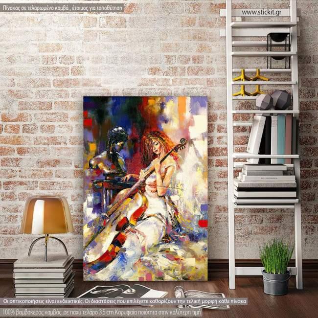 Πίνακας σε καμβά The girl and the violoncello