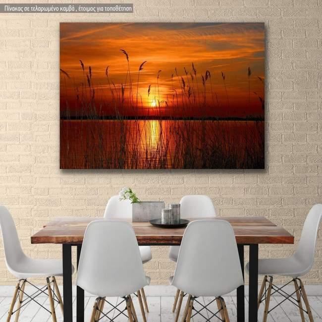 Πίνακας σε καμβά Λίμνη ηλιοβασίλεμα, Sunset lake