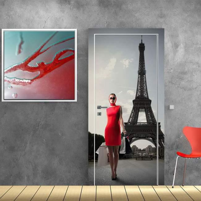 Αυτοκόλλητο πόρτας Lady in red at Paris
