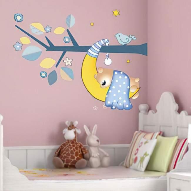 Αυτοκόλλητα τοίχου παιδικά Αρκουδάκι που κοιμάται
