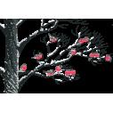 Πουλιά στο χιόνι,   αυτοκόλλητο τοίχου, κοντινό