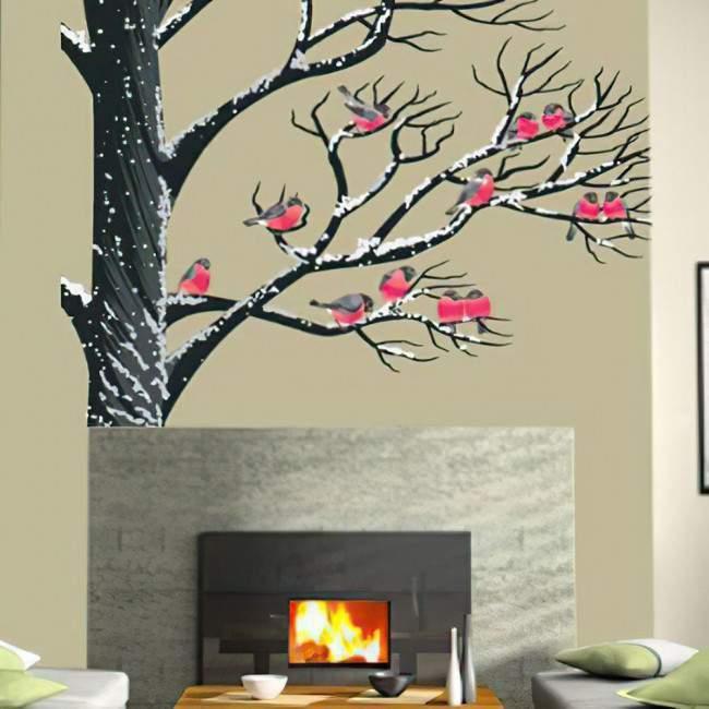 Αυτοκόλλητο τοίχου Πουλιά στο χιόνι