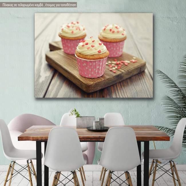 Canvas print Cupcakes pink
