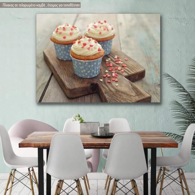 Πίνακας σε καμβά Cupcakes blue