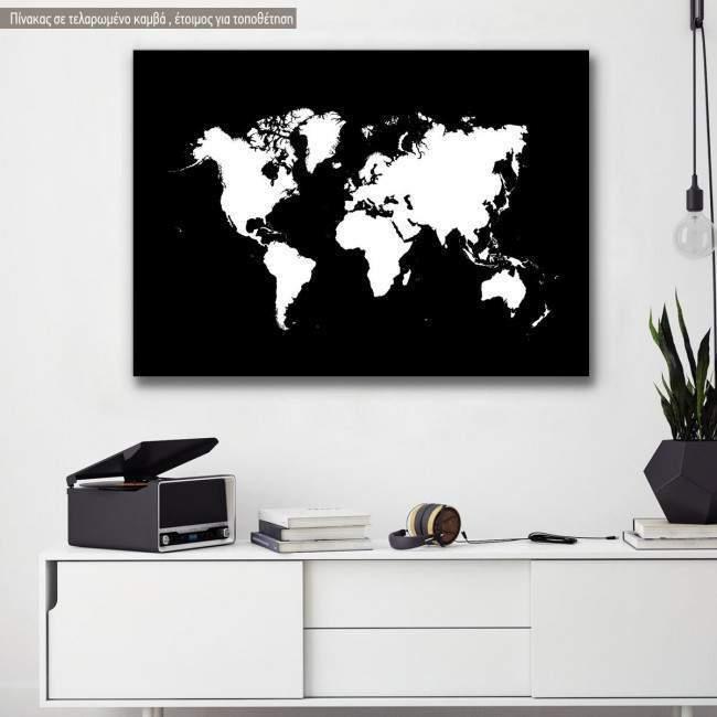 Πίνακας σε καμβά χάρτης ασπρόμαυρος, Map b&w