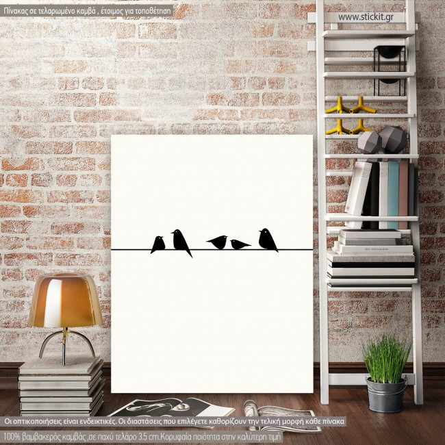Canvas print Birds on wire