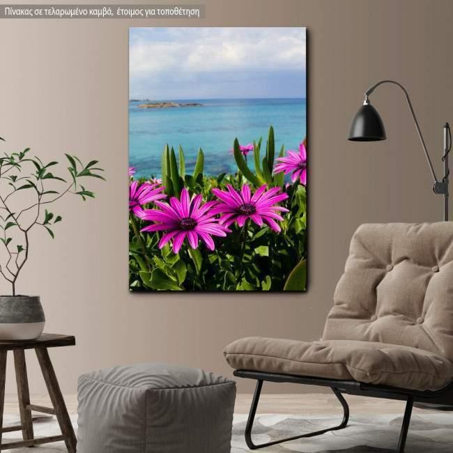 Canvas print Purple wild flowers on beach