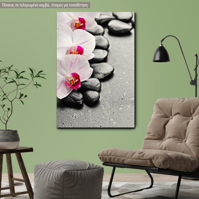 Canvas print Orchid spa stones