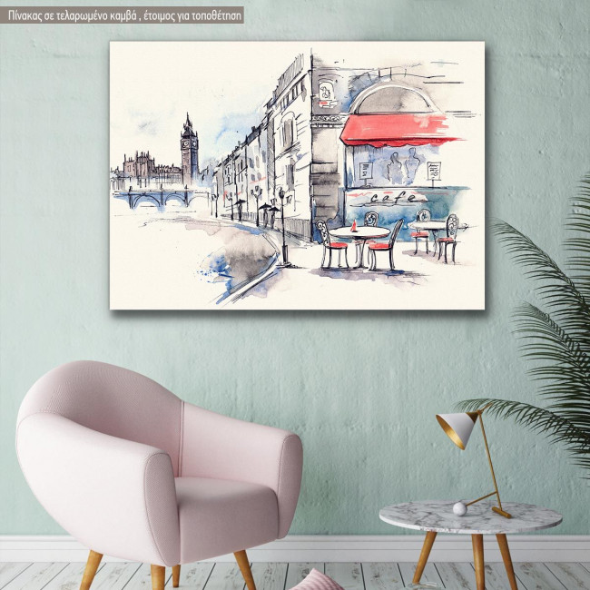 Canvas print London, English cafe