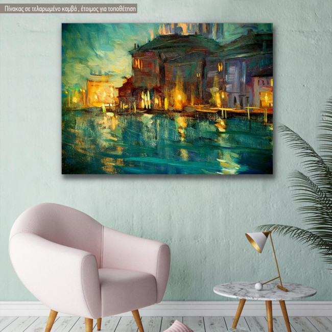 Canvas print Venice, Night landscape to Venice